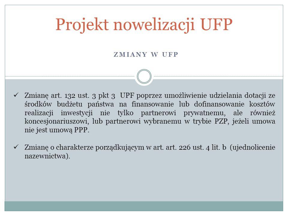 ZMIANY W UFP Projekt nowelizacji UFP Zmianę art. 132 ust. 3 pkt 3 UPF poprzez umożliwienie udzielania dotacji ze środków budżetu państwa na finansowan