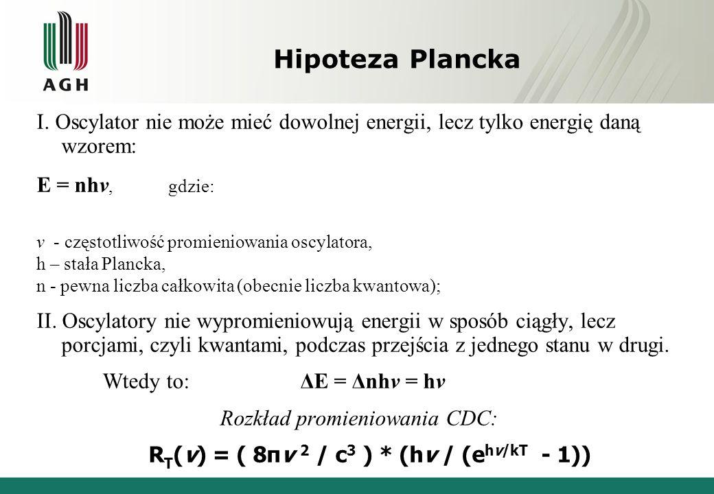 Hipoteza Plancka I. Oscylator nie może mieć dowolnej energii, lecz tylko energię daną wzorem: E = nhv, gdzie: v - częstotliwość promieniowania oscylat