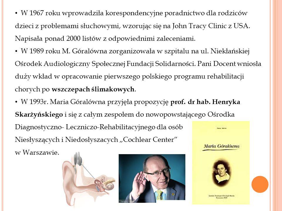 Maria Góralówna jest autorką licznych publikacji i poradników przeznaczonych dla rodziców, pedagogów, surdopedagogów, protetyków i wszystkich zajmujących się rehabilitacją i kształceniem osób niesłyszących.