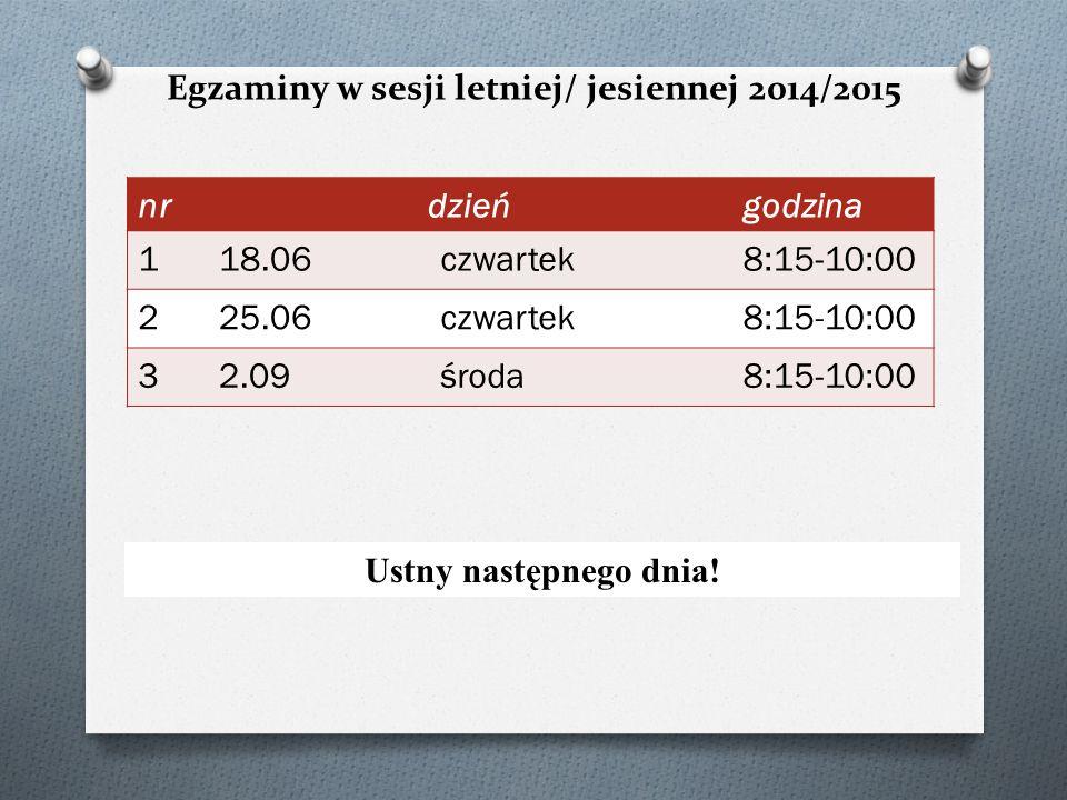 Egzaminy w sesji letniej/ jesiennej 2014/2015 Ustny następnego dnia! nrdzieńgodzina 118.06czwartek8:15-10:00 225.06czwartek8:15-10:00 32.09środa8:15-1