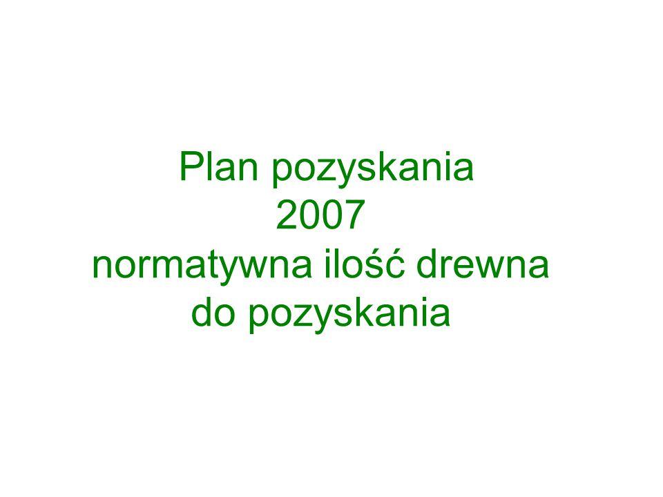 Plan pozyskania 2007 normatywna ilość drewna do pozyskania