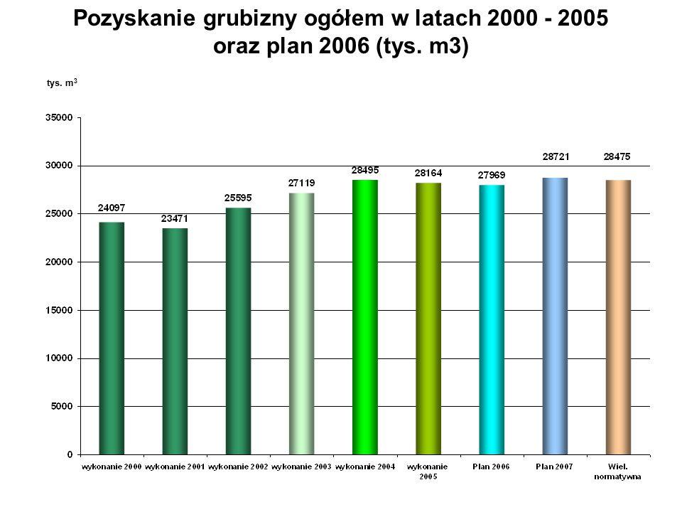 Pozyskanie grubizny ogółem w latach 2000 - 2005 oraz plan 2006 (tys. m3) tys. m 3