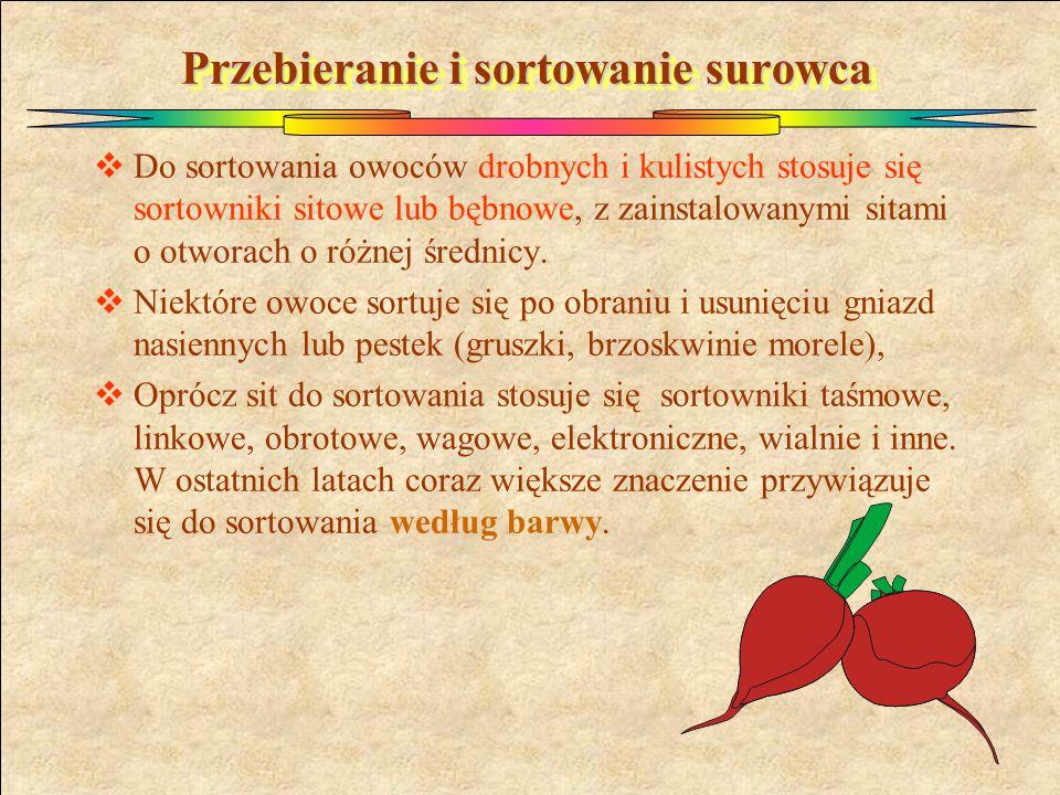 Przebieranie i sortowanie surowca  Do sortowania owoców drobnych i kulistych stosuje się sortowniki sitowe lub bębnowe, z zainstalowanymi sitami o ot