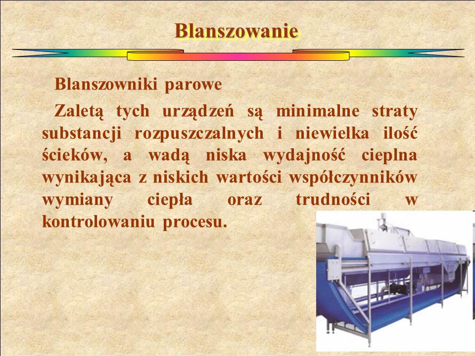 BlanszowanieBlanszowanie Blanszowniki parowe Zaletą tych urządzeń są minimalne straty substancji rozpuszczalnych i niewielka ilość ścieków, a wadą nis