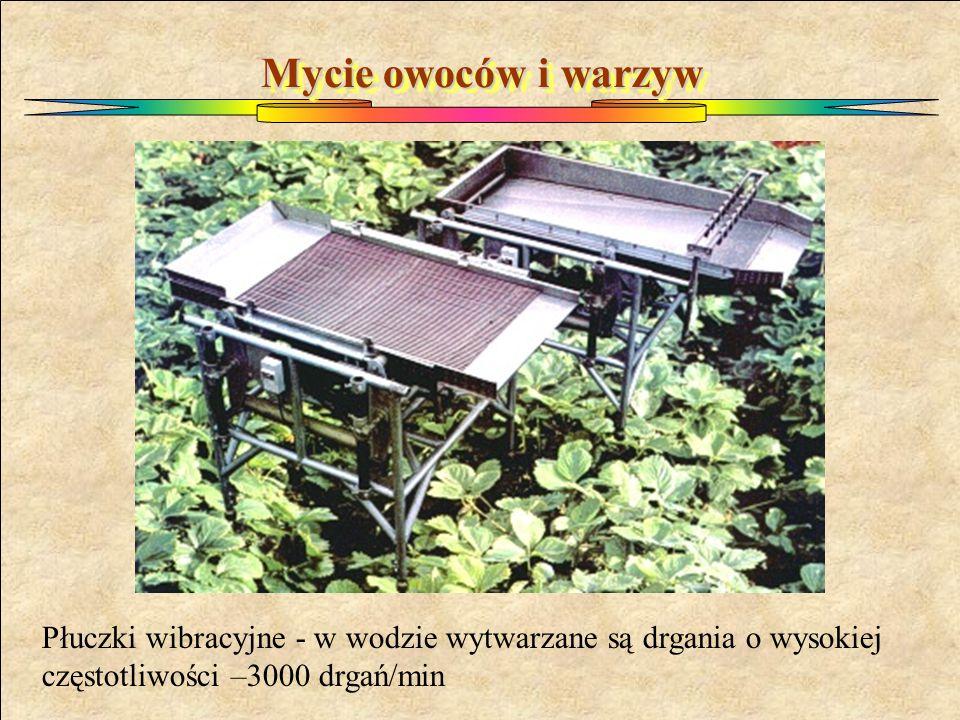Mycie owoców i warzyw Płuczki wibracyjne - w wodzie wytwarzane są drgania o wysokiej częstotliwości –3000 drgań/min