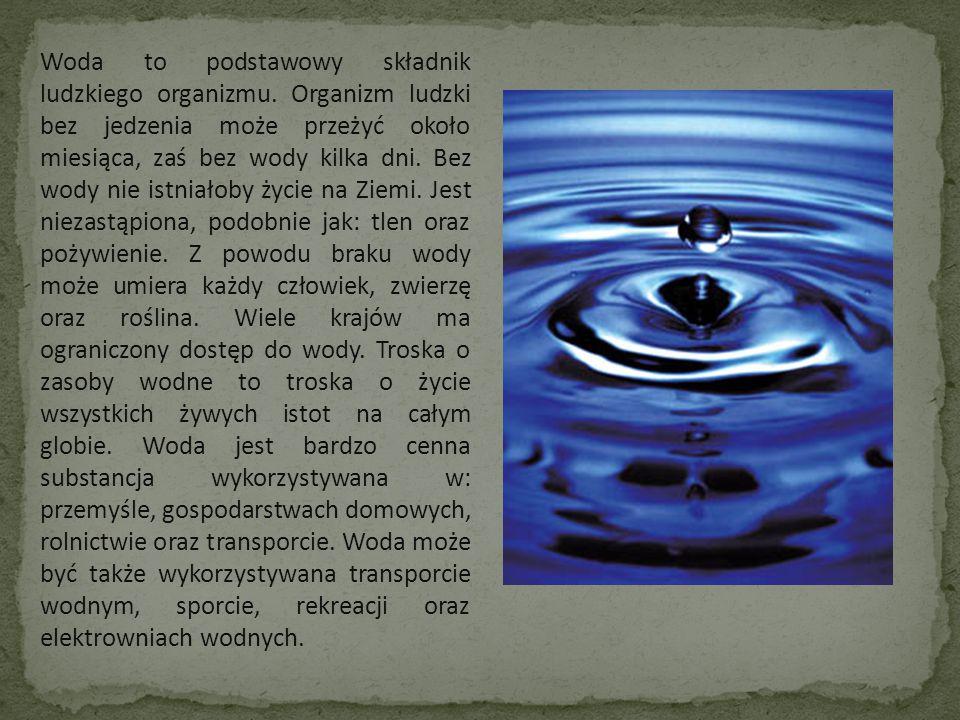 Woda to podstawowy składnik ludzkiego organizmu. Organizm ludzki bez jedzenia może przeżyć około miesiąca, zaś bez wody kilka dni. Bez wody nie istnia