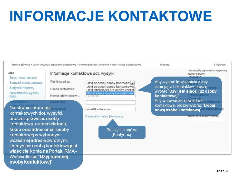 INFORMACJE KONTAKTOWE PAGE 10 Na stronie informacji kontaktowych dot.