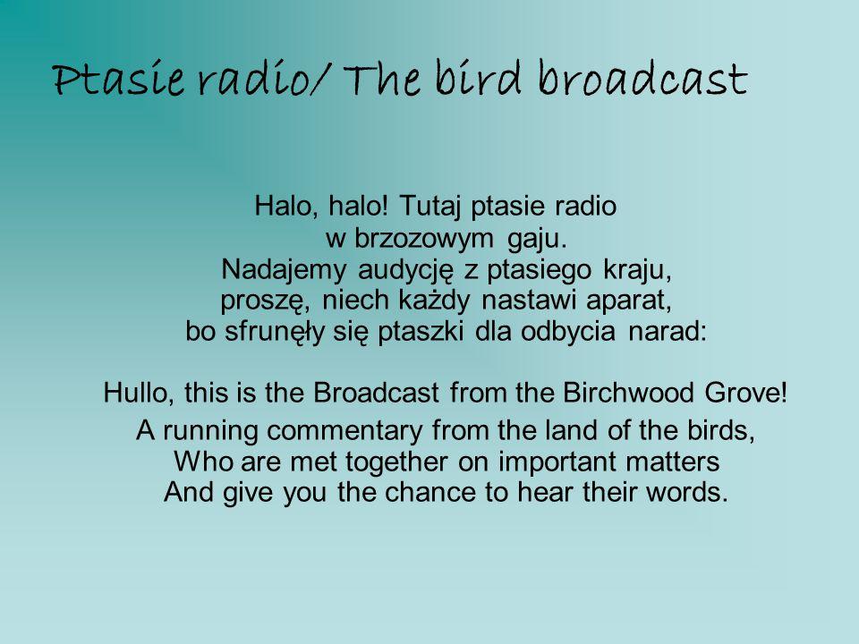 Ptasie radio/ The bird broadcast Halo, halo! Tutaj ptasie radio w brzozowym gaju. Nadajemy audycję z ptasiego kraju, proszę, niech każdy nastawi apara