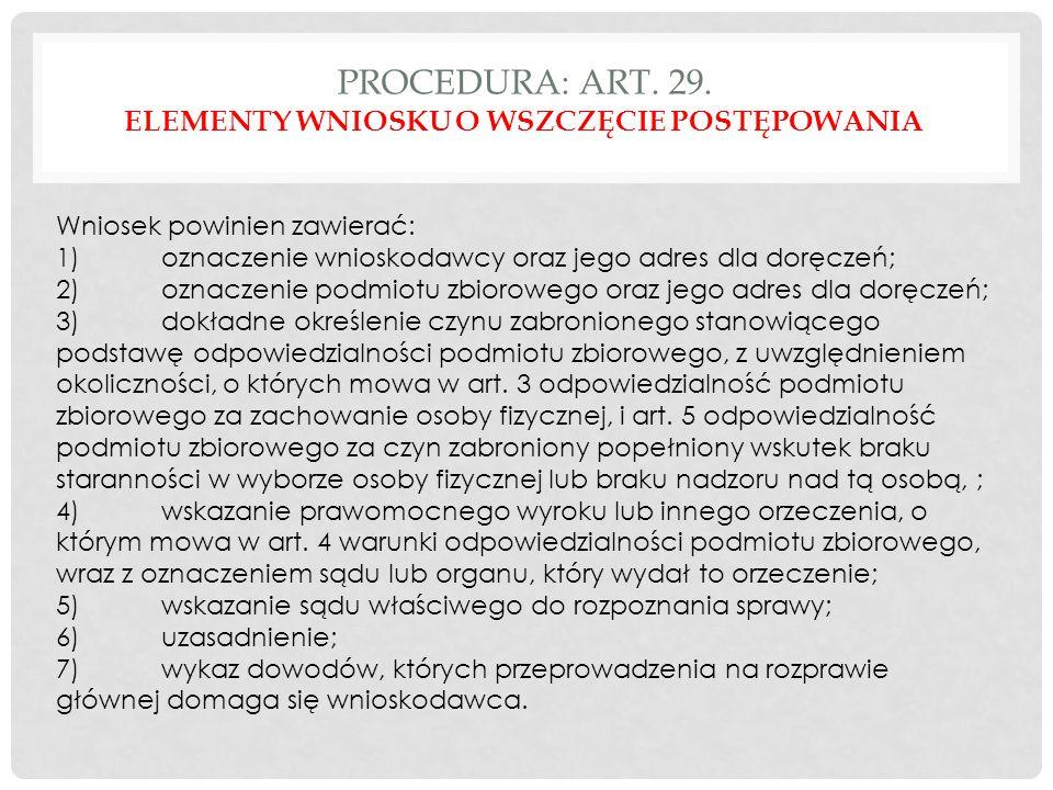 PROCEDURA: ART. 29.