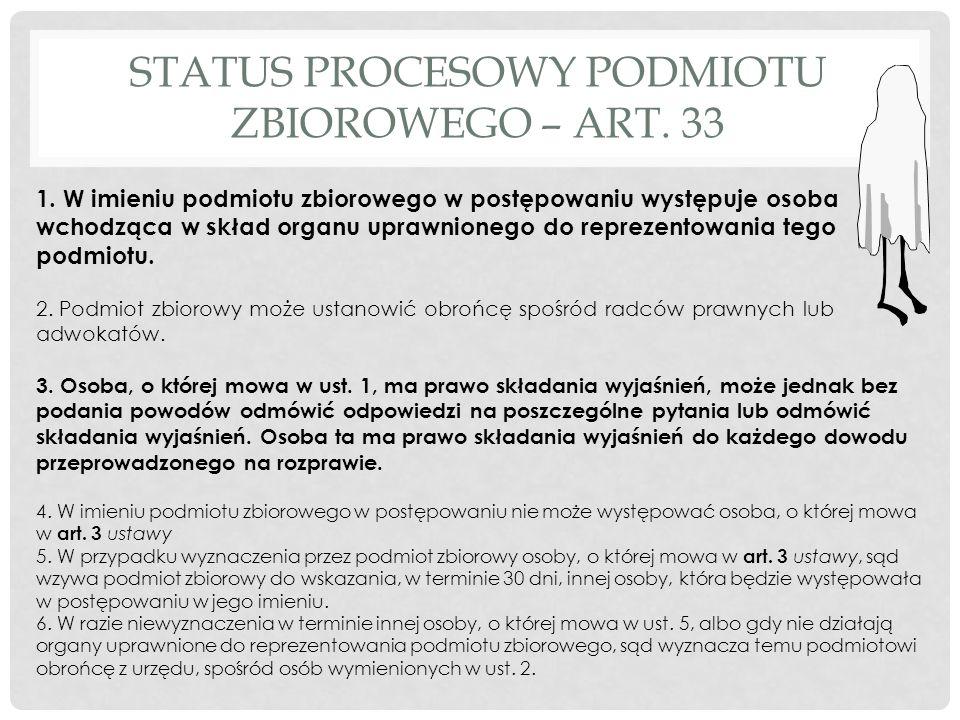 STATUS PROCESOWY PODMIOTU ZBIOROWEGO – ART. 33 1.