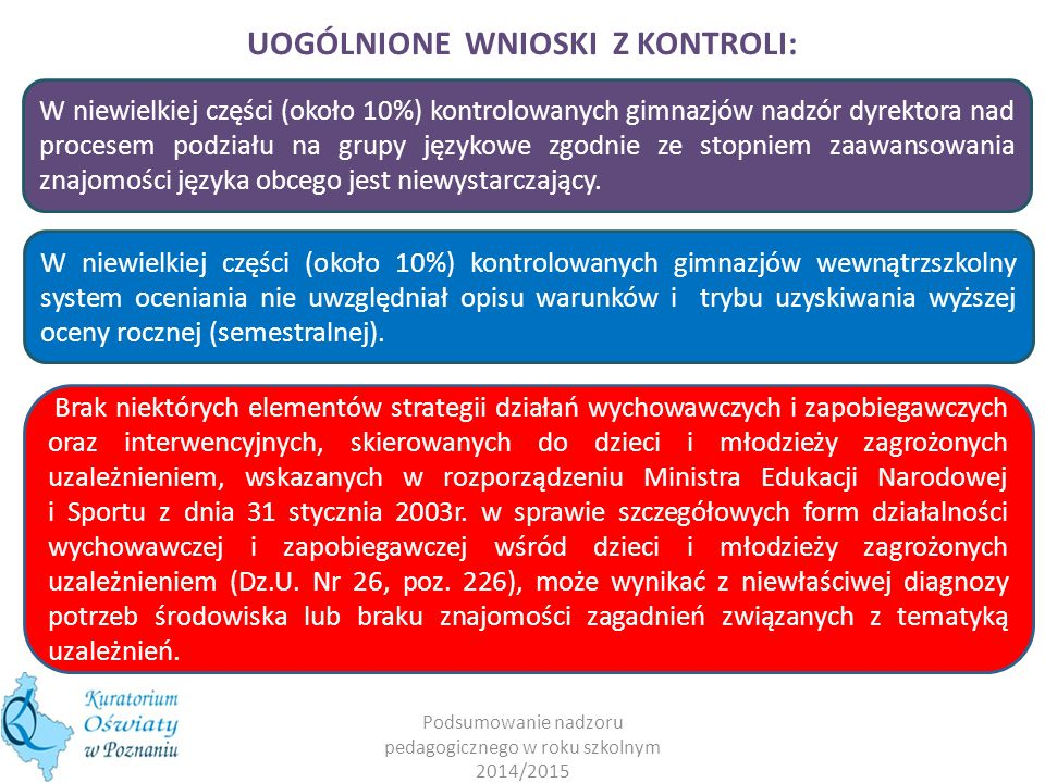 W niewielkiej części (około 10%) kontrolowanych gimnazjów nadzór dyrektora nad procesem podziału na grupy językowe zgodnie ze stopniem zaawansowania znajomości języka obcego jest niewystarczający.
