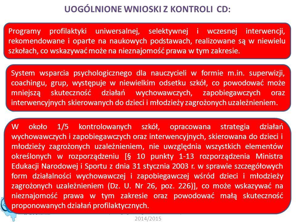 Podsumowanie nadzoru pedagogicznego w roku szkolnym 2014/2015 UOGÓLNIONE WNIOSKI Z KONTROLI CD: Programy profilaktyki uniwersalnej, selektywnej i wcze