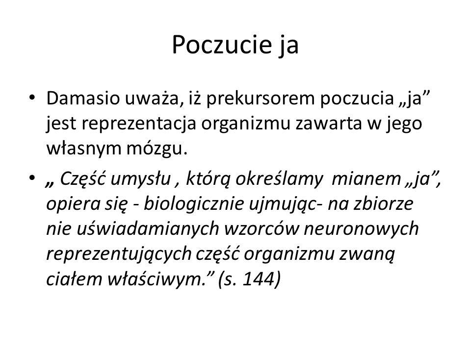 """Poczucie ja Damasio uważa, iż prekursorem poczucia """"ja jest reprezentacja organizmu zawarta w jego własnym mózgu."""