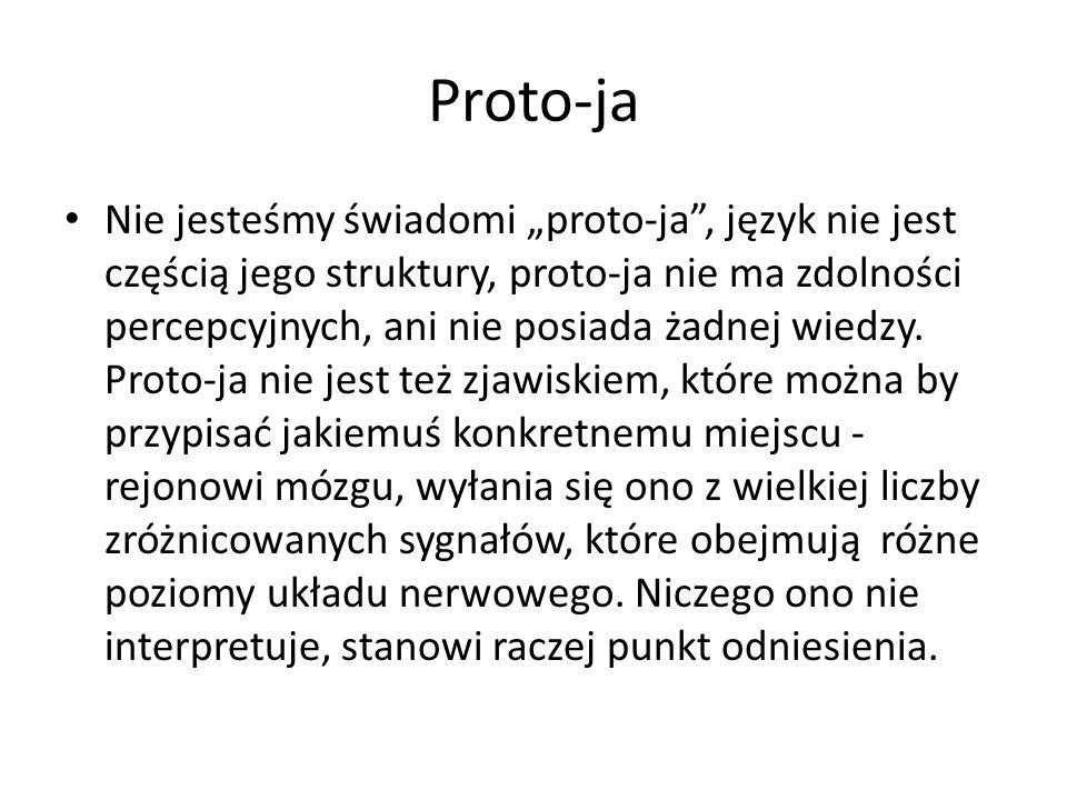 """Proto-ja Nie jesteśmy świadomi """"proto-ja , język nie jest częścią jego struktury, proto-ja nie ma zdolności percepcyjnych, ani nie posiada żadnej wiedzy."""