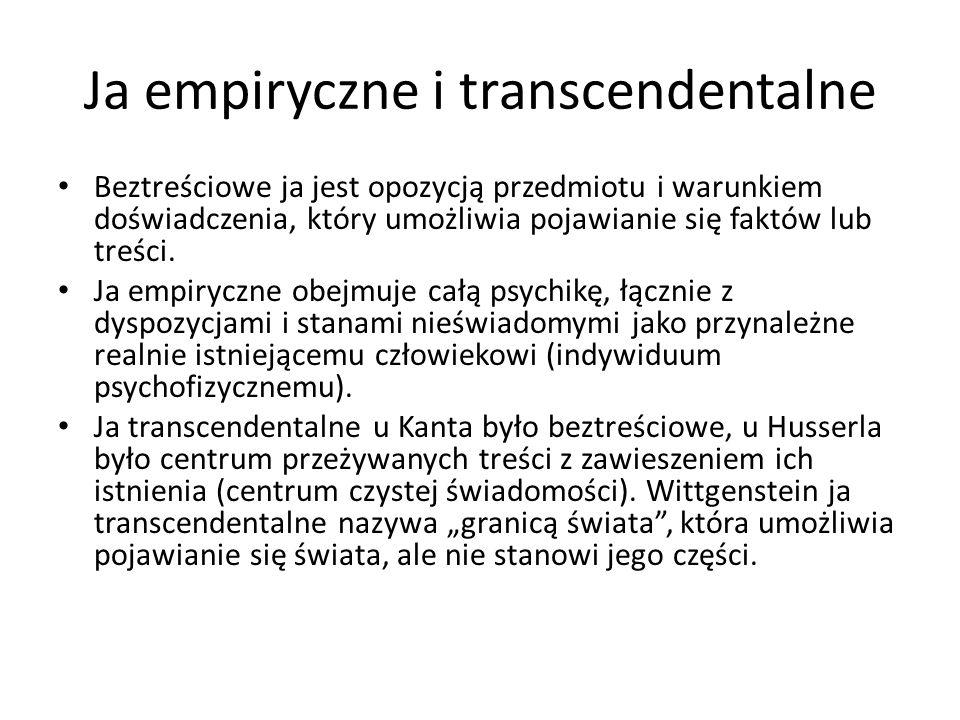 Ja empiryczne i transcendentalne Beztreściowe ja jest opozycją przedmiotu i warunkiem doświadczenia, który umożliwia pojawianie się faktów lub treści.