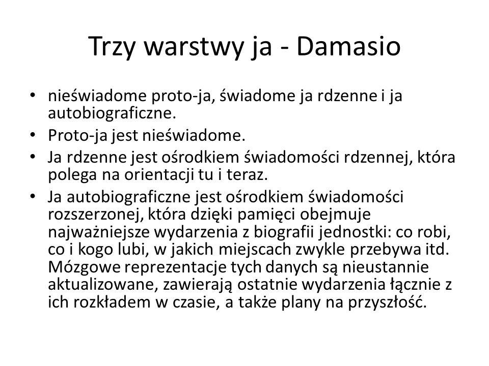 Trzy warstwy ja - Damasio nieświadome proto-ja, świadome ja rdzenne i ja autobiograficzne.