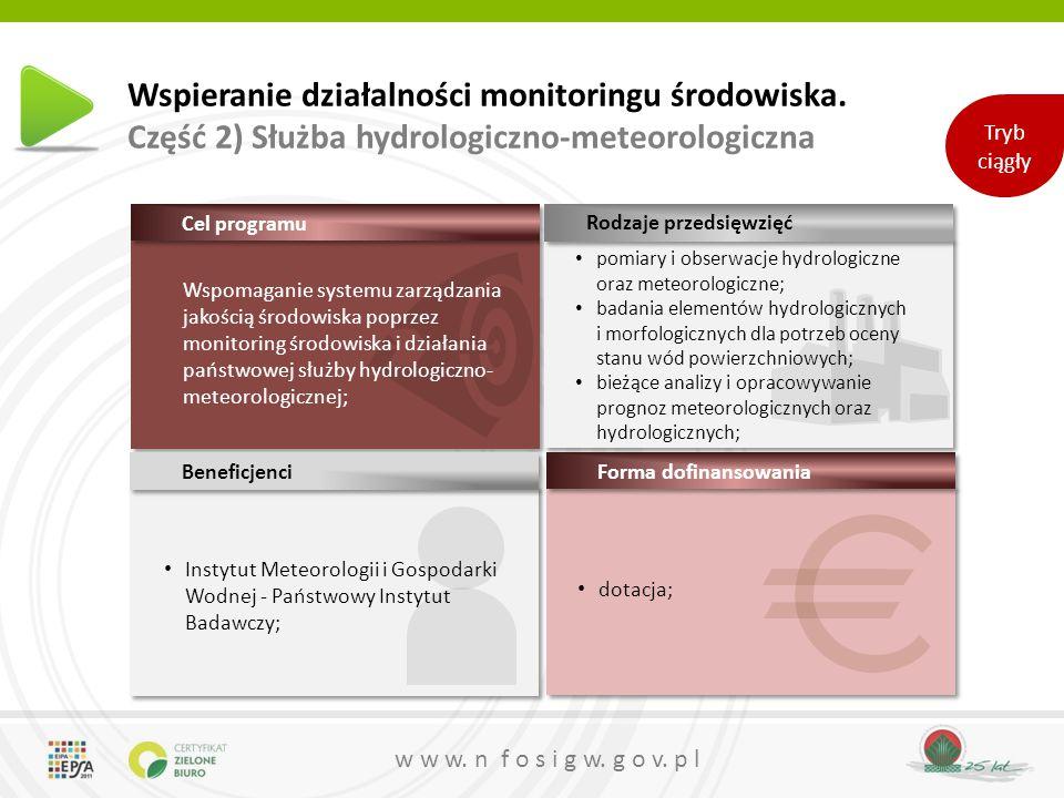 w w w. n f o s i g w. g o v. p l dotacja; Wspieranie działalności monitoringu środowiska.