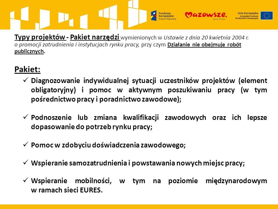 Typy projektów - Pakiet narzędzi wymienionych w Ustawie z dnia 20 kwietnia 2004 r. o promocji zatrudnienia i instytucjach rynku pracy, przy czym Dział