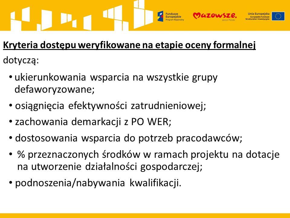 Kryteria dostępu weryfikowane na etapie oceny formalnej dotyczą: ukierunkowania wsparcia na wszystkie grupy defaworyzowane; osiągnięcia efektywności z