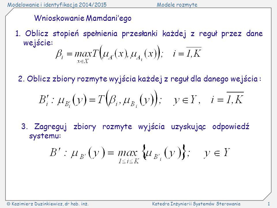 Modelowanie i identyfikacja 2014/2015Modele rozmyte  Kazimierz Duzinkiewicz, dr hab. inż.Katedra Inżynierii Systemów Sterowania1 Wnioskowanie Mamdani