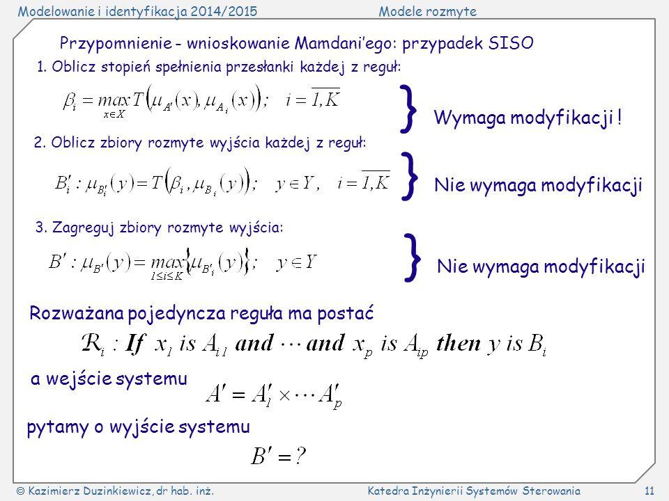 Modelowanie i identyfikacja 2014/2015Modele rozmyte  Kazimierz Duzinkiewicz, dr hab. inż.Katedra Inżynierii Systemów Sterowania11 Przypomnienie - wni