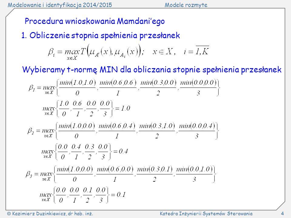 Modelowanie i identyfikacja 2014/2015Modele rozmyte  Kazimierz Duzinkiewicz, dr hab. inż.Katedra Inżynierii Systemów Sterowania4 Procedura wnioskowan