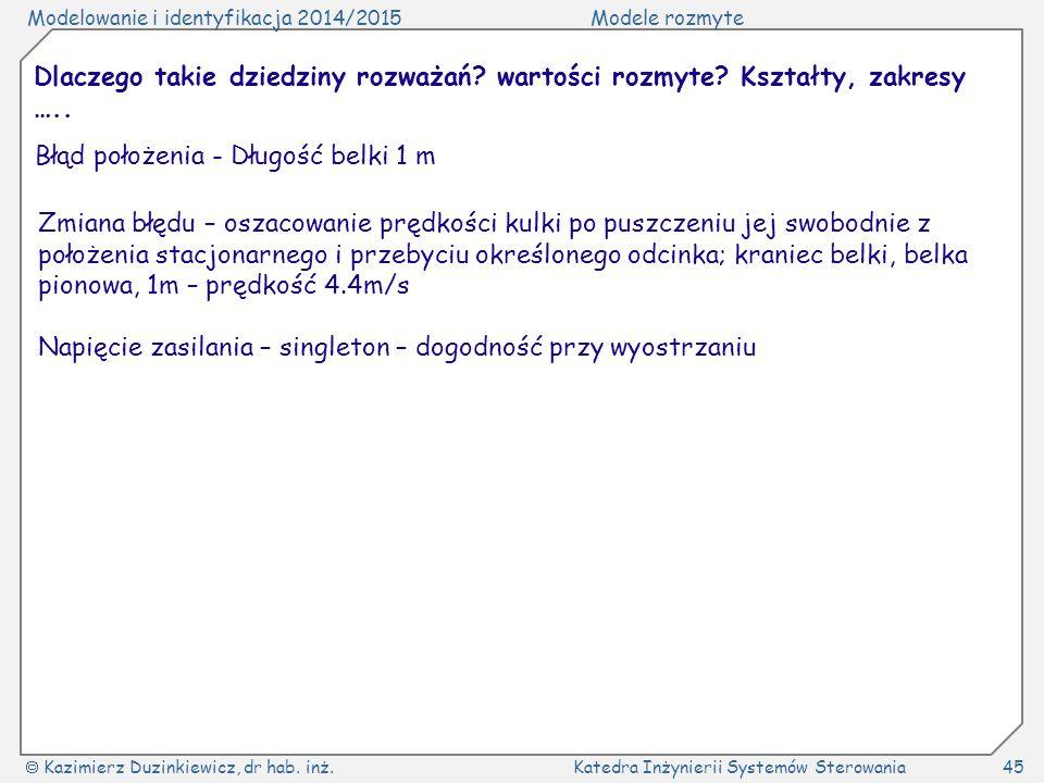 Modelowanie i identyfikacja 2014/2015Modele rozmyte  Kazimierz Duzinkiewicz, dr hab. inż.Katedra Inżynierii Systemów Sterowania45 Dlaczego takie dzie