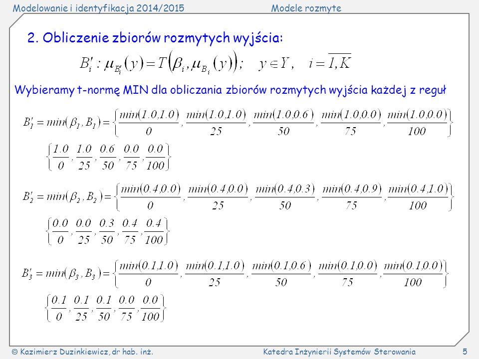 Modelowanie i identyfikacja 2014/2015Modele rozmyte  Kazimierz Duzinkiewicz, dr hab. inż.Katedra Inżynierii Systemów Sterowania5 2. Obliczenie zbioró