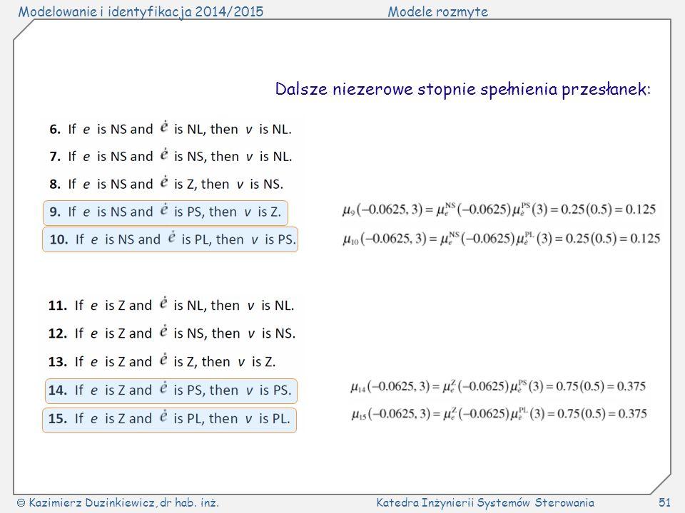 Modelowanie i identyfikacja 2014/2015Modele rozmyte  Kazimierz Duzinkiewicz, dr hab. inż.Katedra Inżynierii Systemów Sterowania51 Dalsze niezerowe st
