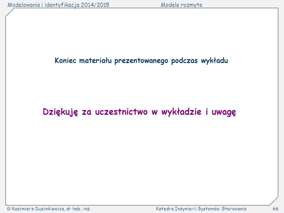 Modelowanie i identyfikacja 2014/2015Modele rozmyte  Kazimierz Duzinkiewicz, dr hab. inż.Katedra Inżynierii Systemów Sterowania66 Dziękuję za uczestn