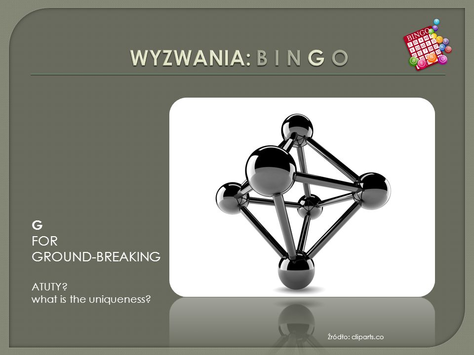 Źródło: cliparts.co G FOR GROUND-BREAKING ATUTY what is the uniqueness