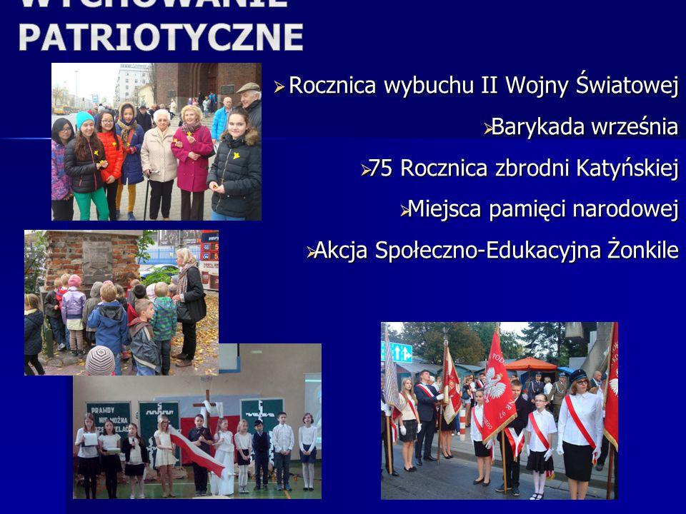  Rocznica wybuchu II Wojny Światowej  Barykada września  75 Rocznica zbrodni Katyńskiej  Miejsca pamięci narodowej  Akcja Społeczno-Edukacyjna Żonkile