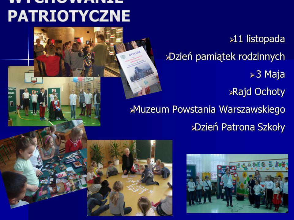  11 listopada  Dzień pamiątek rodzinnych  3 Maja  Rajd Ochoty  Muzeum Powstania Warszawskiego  Dzień Patrona Szkoły