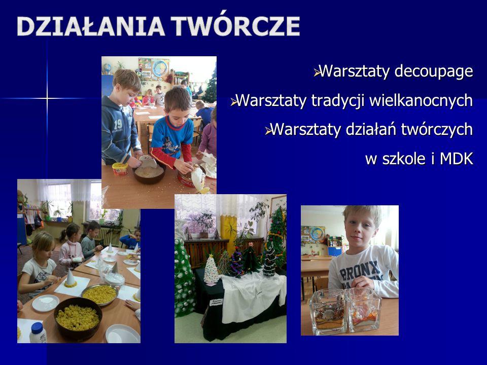  Warsztaty decoupage  Warsztaty tradycji wielkanocnych  Warsztaty działań twórczych w szkole i MDK w szkole i MDK