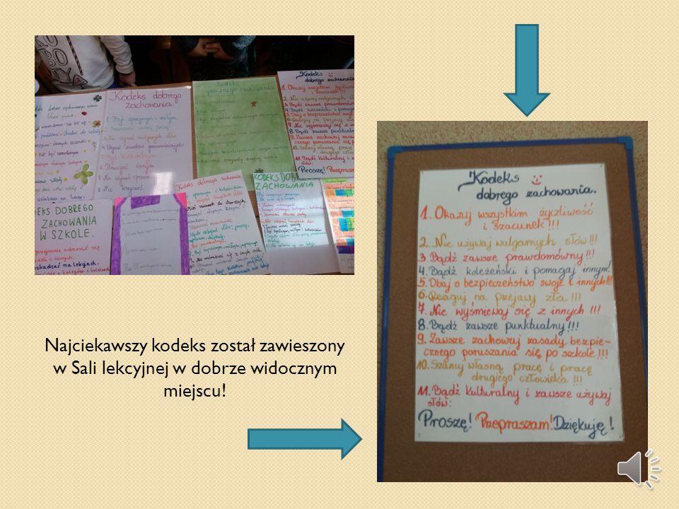 Najciekawszy kodeks został zawieszony w Sali lekcyjnej w dobrze widocznym miejscu!