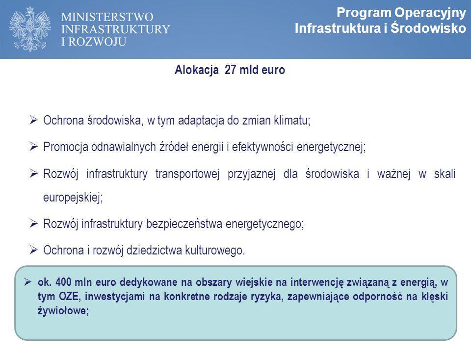 Zasady programowania perspektywy 2014-2020 Alokacja 27 mld euro  Ochrona środowiska, w tym adaptacja do zmian klimatu;  Promocja odnawialnych źródeł energii i efektywności energetycznej;  Rozwój infrastruktury transportowej przyjaznej dla środowiska i ważnej w skali europejskiej;  Rozwój infrastruktury bezpieczeństwa energetycznego;  Ochrona i rozwój dziedzictwa kulturowego.