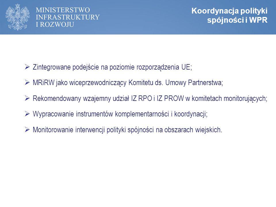 Zasady programowania perspektywy 2014-2020  Zintegrowane podejście na poziomie rozporządzenia UE;  MRiRW jako wiceprzewodniczący Komitetu ds.