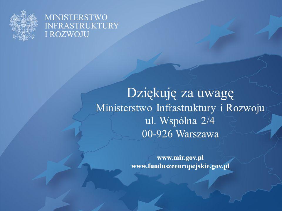 Dziękuję za uwagę Ministerstwo Infrastruktury i Rozwoju ul.