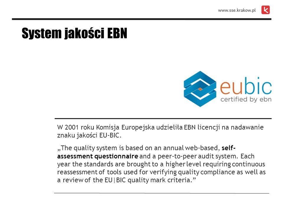 """W 2001 roku Komisja Europejska udzieliła EBN licencji na nadawanie znaku jakości EU-BIC. """"The quality system is based on an annual web-based, self- as"""