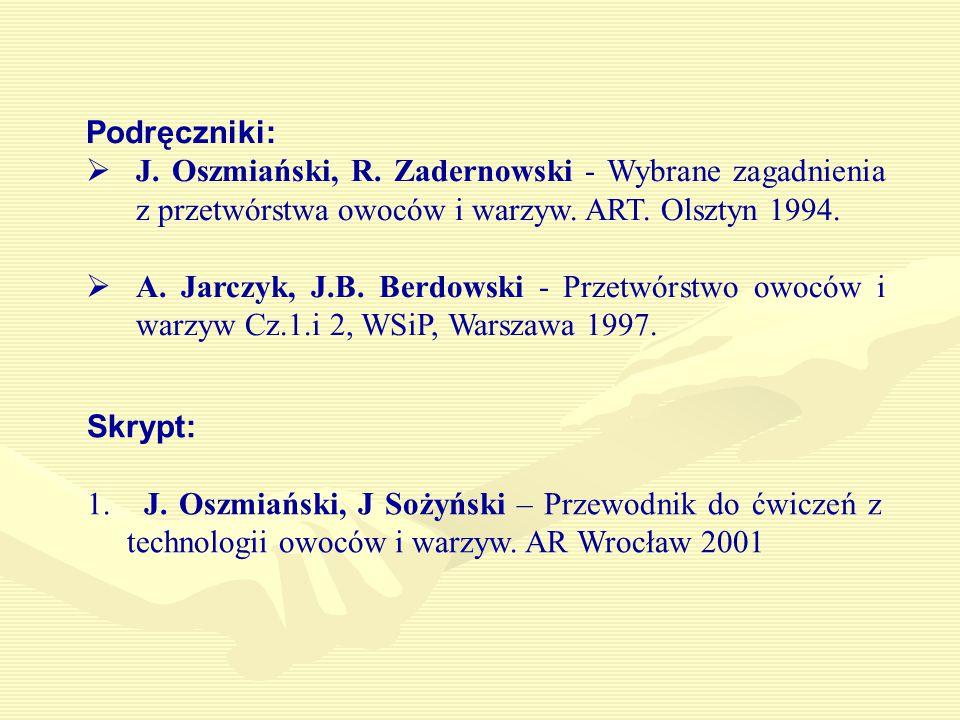 Skrypt: 1.J. Oszmiański, J Sożyński – Przewodnik do ćwiczeń z technologii owoców i warzyw.