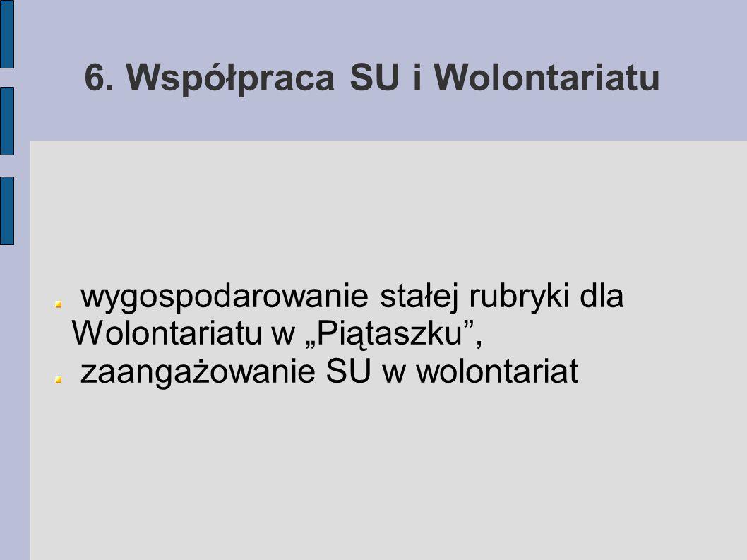 """6. Współpraca SU i Wolontariatu wygospodarowanie stałej rubryki dla Wolontariatu w """"Piątaszku"""", zaangażowanie SU w wolontariat"""