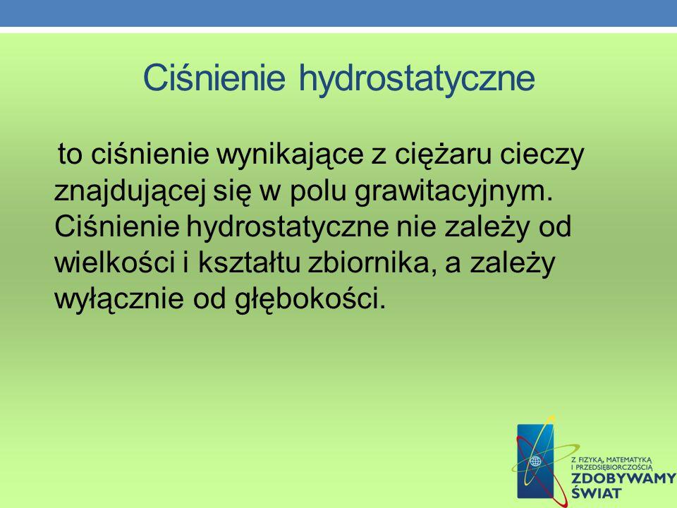 Ciśnienie hydrostatyczne to ciśnienie wynikające z ciężaru cieczy znajdującej się w polu grawitacyjnym.
