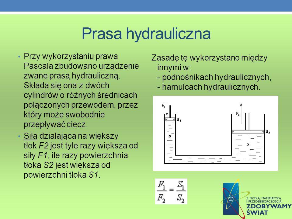 Prasa hydrauliczna Przy wykorzystaniu prawa Pascala zbudowano urządzenie zwane prasą hydrauliczną.