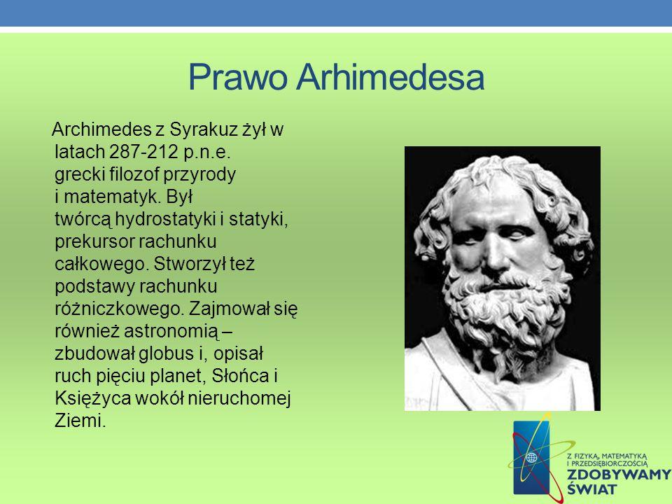 Prawo Arhimedesa Archimedes z Syrakuz żył w latach 287-212 p.n.e.