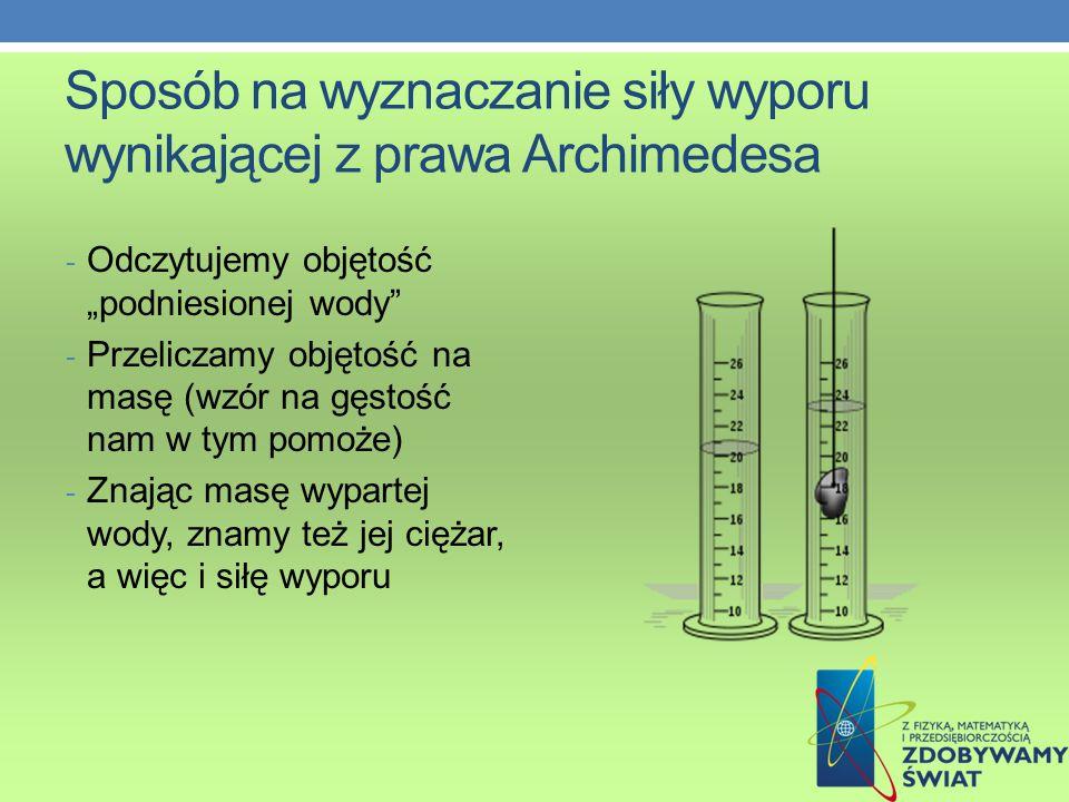 """Sposób na wyznaczanie siły wyporu wynikającej z prawa Archimedesa - Odczytujemy objętość """"podniesionej wody - Przeliczamy objętość na masę (wzór na gęstość nam w tym pomoże) - Znając masę wypartej wody, znamy też jej ciężar, a więc i siłę wyporu"""