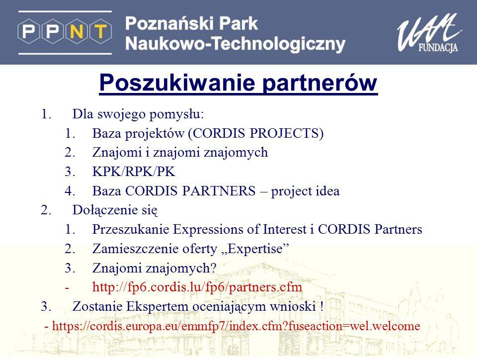 Poszukiwanie partnerów 1.Dla swojego pomysłu: 1.Baza projektów (CORDIS PROJECTS) 2.Znajomi i znajomi znajomych 3.KPK/RPK/PK 4.Baza CORDIS PARTNERS – p