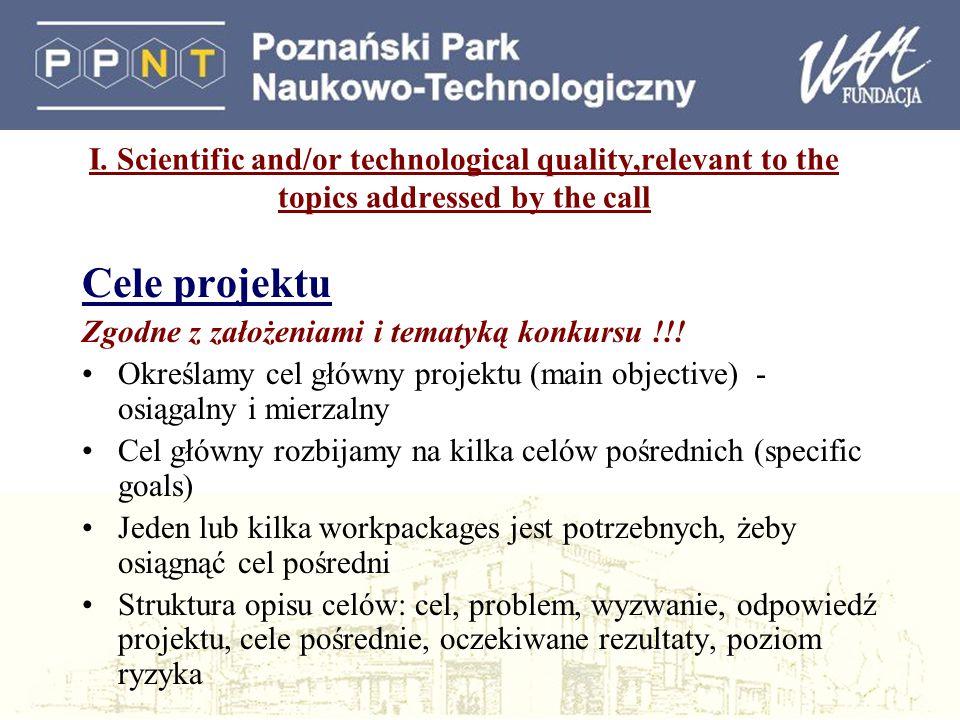 I. Scientific and/or technological quality,relevant to the topics addressed by the call Cele projektu Zgodne z założeniami i tematyką konkursu !!! Okr