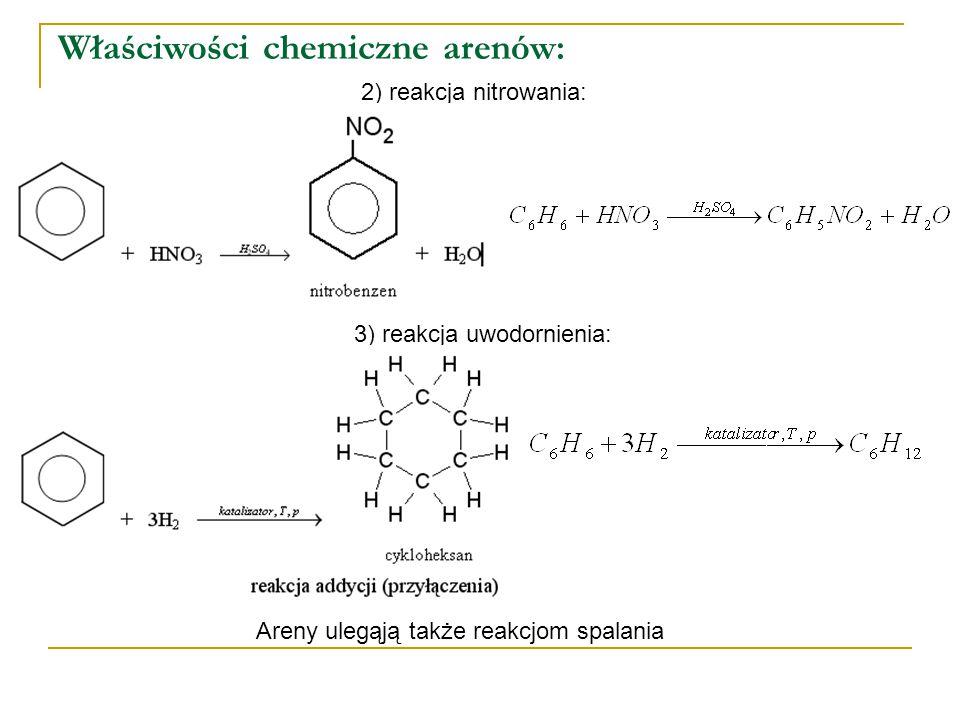 Właściwości chemiczne arenów: 2) reakcja nitrowania: 3) reakcja uwodornienia: Areny ulegąją także reakcjom spalania