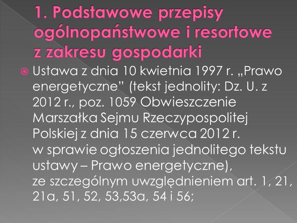 """ Ustawa z dnia 10 kwietnia 1997 r. """"Prawo energetyczne"""" (tekst jednolity: Dz. U. z 2012 r., poz. 1059 Obwieszczenie Marszałka Sejmu Rzeczypospolitej"""