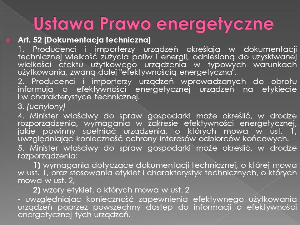  Art. 52 [Dokumentacja techniczna] 1. Producenci i importerzy urządzeń określają w dokumentacji technicznej wielkość zużycia paliw i energii, odniesi